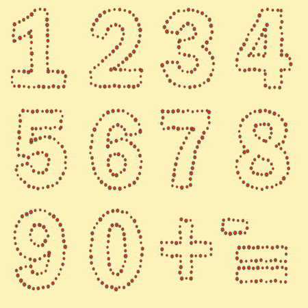 A set of digits from zero to nine, plus and minus signs, equally executed by a contour of red flowers with green leaves