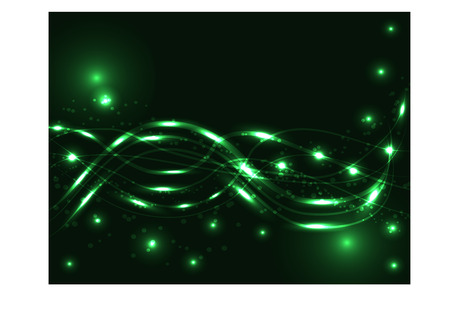 Abstract light background in emerald tones. Neon intersecting lines, illuminated spheres, stars. Space, planets, star dust Illustration