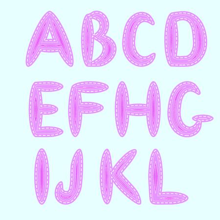 L'alphabet anglais, exécuté dans le style de la couture, l'imitation des patchs et des coutures
