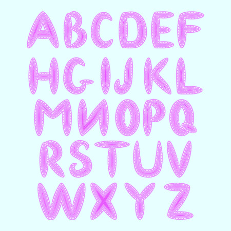 English alphabet, executed in the style of sewing, imitation of patches and seams