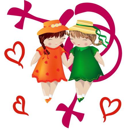 Lesbian couple. Two girls hold hands on the background of the symbol of a gay couple. Love of two women, homosexual love. Family of lesbians. LGBT couple Illustration