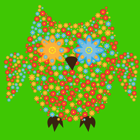 Owl made with flowers design.