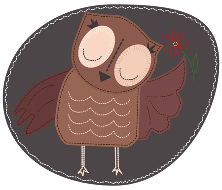 Owl is holding a flower. Imitation of stripe, appliqué, fabric and stitching, seam