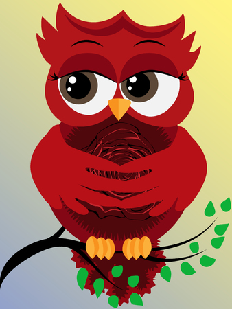 Cute beautiful flirtatious red owl on a branch with a rose on a pussy Ilustração