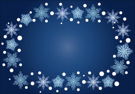 Natale, cornice ovale invernale di fiocchi di neve su uno sfondo blu