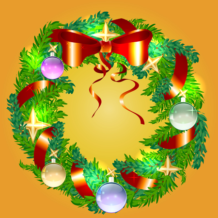 detailed image: Christmas wreath made of pine, fir branches with balls, stars, ribbon and bow Illustration