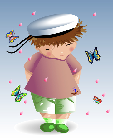 A sailor boy in a white naval hat, a green T-shirt with a painted anchor, shorts on a light background. Recreation, Illustration