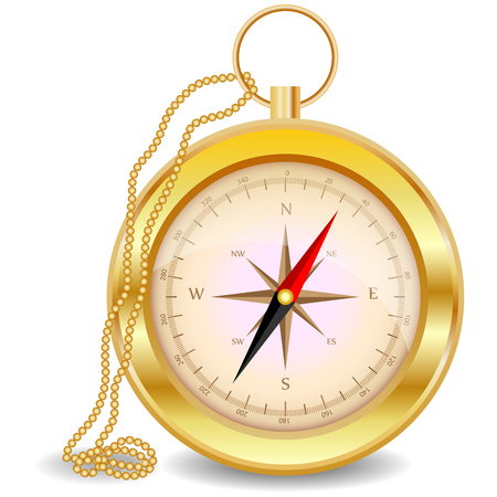 A golden compass with a wind rose on a gold chain. North, south, west, east, geography, coordinates, directions.