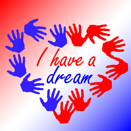 Martin Luther King Day, poster, banner, holiday poster with the inscription I have a dream in my heart of red and blue palms