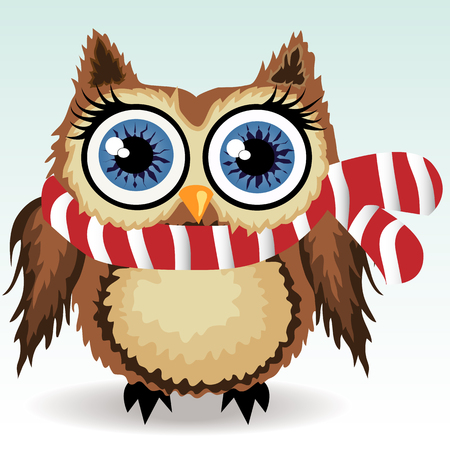 A little cute owl in a red and white scarf, a winter owl, shelter from the cold Illustration