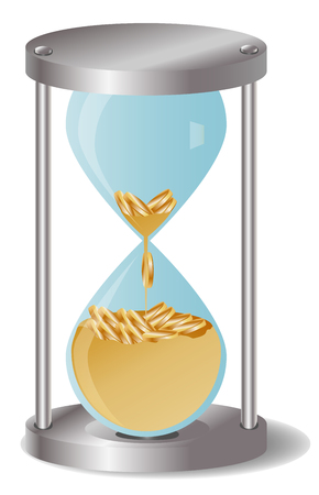 appointments: Concept time is money, money like sand, gold coins in an hourglass. Time management business concept illustration.