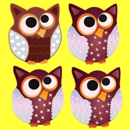 Four Brown Owl with blue wings in specks and stars and eyes centered on the center
