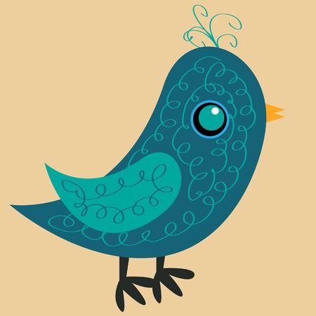 Ładny niebieski ptak z wzorem na ciele, żółtym dziobie i niebieskim okiem, widok z boku