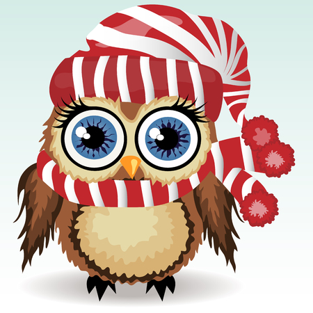 A little cute owl in a red and white hat and scarf with a pompon, a winter owl, shelter from the cold 向量圖像