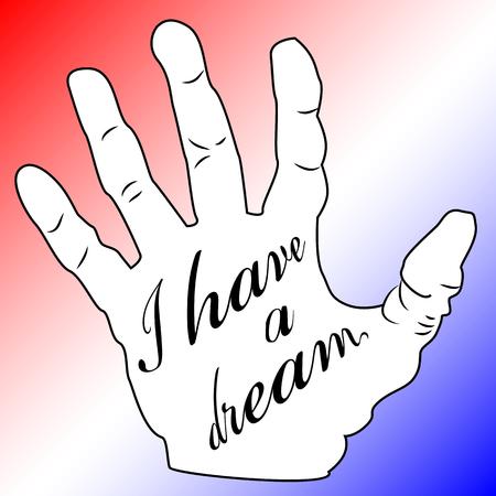 マーティン ・ ルーサー ・ キングの日、ポスター、バナー、休日ポスター碑文と私の手のひらに夢があります。