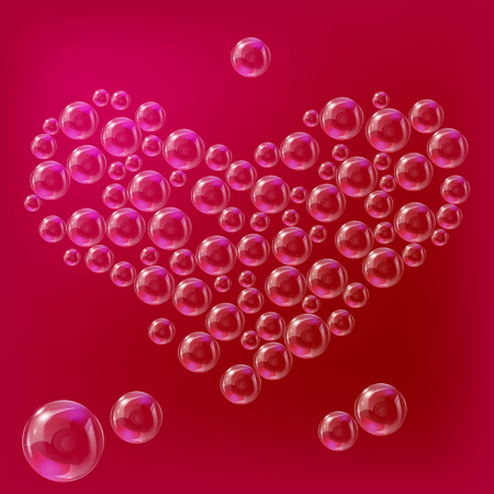 Heart of transparent soap bubbles on a red background. Illustration