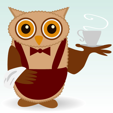 The owl-waiter in claret and butterfly burgundy, with a cup of steaming coffee, tea, a towel on the wing.