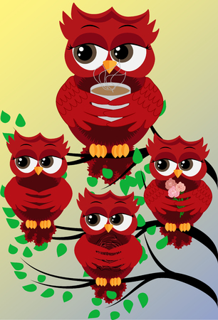 Four red cute flirtatious owls on branches, with roses, with a cup of steaming coffee, tea or chocolate.
