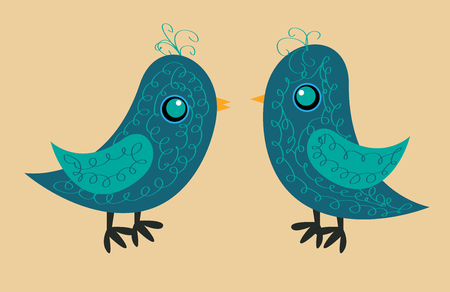 Two cute blue birds with a pattern on the body, a yellow beak and a blue eye, a side view. Zdjęcie Seryjne - 88465696