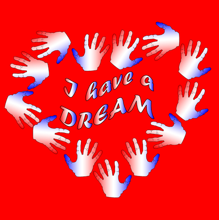 Martin Luther King Day, poster, banner, holiday poster with the inscription I have a dream in my heart of red and blue palms.