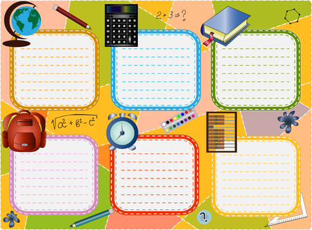 School timetable for six days with school supplies on a multi-colored background Illustration