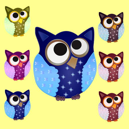 Set of six Brown owl with blue wings in stars and eyes centered on the center