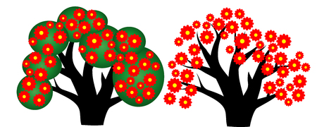 Two trees with red-yellow flowers, leaves Illustration