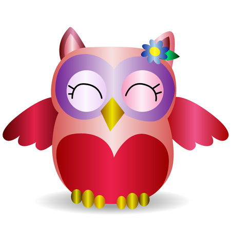 Nice pink smiling owl with a lilac flower on the ear, pattern with volume effect