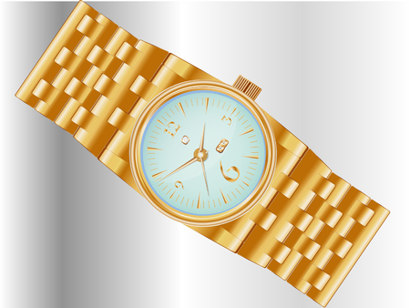 Dear, prestigious mechanical mens watch with a gold bracelet, inlaid with diamond, showing the exact time and date.