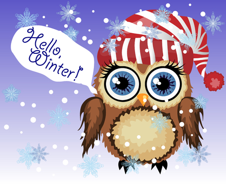 little cute owl fluffy, in a red striped hat says Hello winter