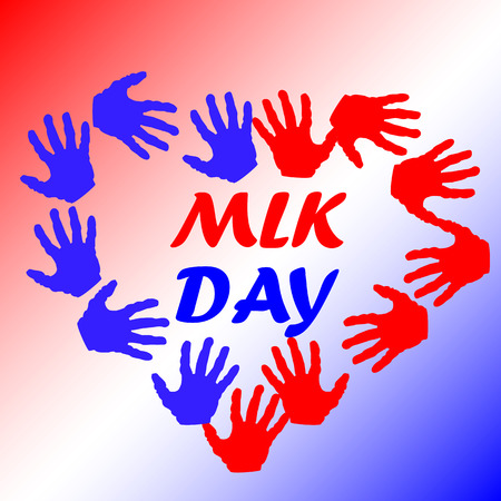 Martin Luther King Day, poster, banner, holiday poster with the inscription MLK day in the heart of red and blue palms