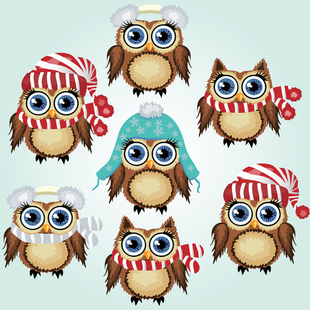 Set of seven little cute owl in fluffy, soft headphones from the cold, caps and scarf