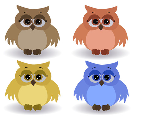 A set of four sad multicolored owls with surprised eyes and spread out wings