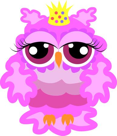 Glamorous pink owl-princess with crown