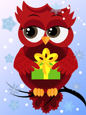 Red flirtatious owl on a branch holds a New Years green gift sits on a branch, snow falls