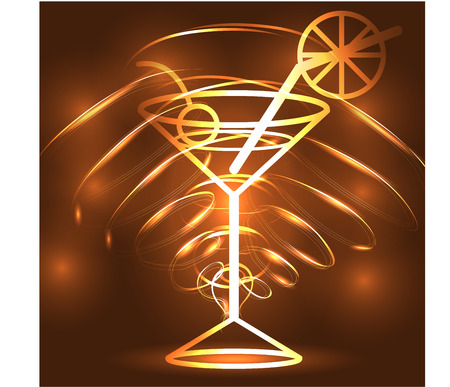 Golden outline of a glass with a cocktail on a brown background, disco, club, neon glow