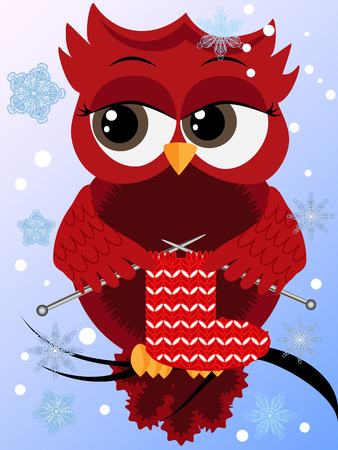 A red flirtatious owl sits on a branch and knits a red and white sock for Christmas, flies through snowflakes, winter