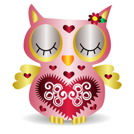 Nice pink smiling owl with a lilac flower on the ear and ornament on the heart and wings, closed eyes, pattern with volume effect