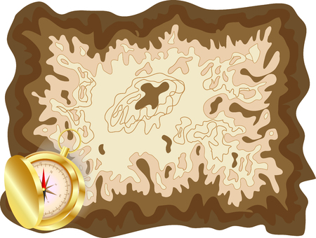 Pirate old map on yellow parchment with golden compass lying on it with a slightly opened lid, encrypted messages