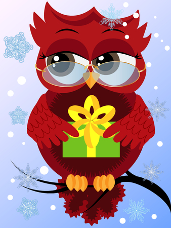 Red flirtatious owl wearing glasses on a branch holding a New Years green gift sitting on a branch, falling snow