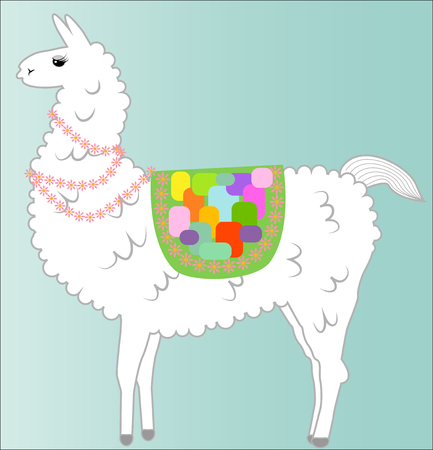 Lama, alpaca of white color, fluffy, with a bright saddle and flowers on a blue background