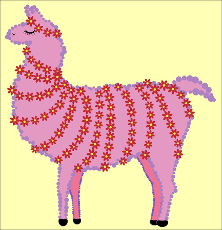 lovely Designer Lama, alpaca of pink color, with fur, flower garlands and with closed eyes