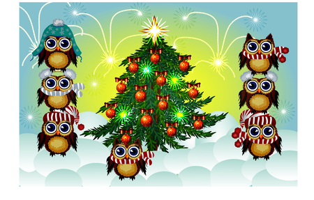 Seven lovely brown owls in caps, scarves, warm headphones around the decorated with balls and the lights of a green Christmas tree.