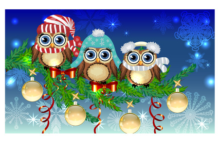 scarves: Three owls in caps, scarves, headphones on a spruce branch decorated with balls, garlands.
