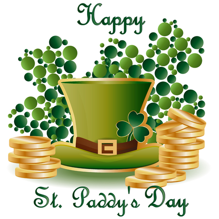 St. Patricks card with two green leaf clover consisting of circles, a green hat and piles of gold coins, inscription - Happy St. Paddys Day Illustration