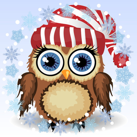 A little cute owl in a red and white hat vector