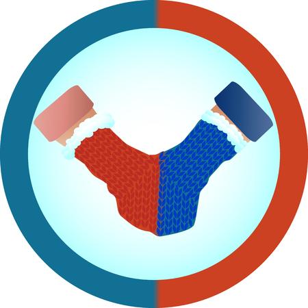 The concept of love and relationship is one mittens for two. Red and blue mittens for two as a symbol of hetero-relationships, sympathy for men and women.