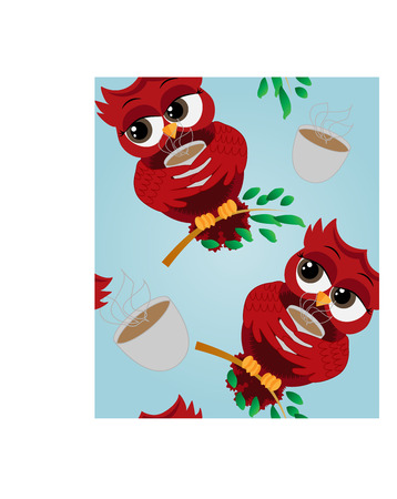Seamless pattern Cute beautiful flirtatious red owl on a branch with a cup of steaming coffee, tea or chocolate Illustration