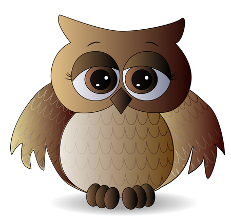 a sad brown owl with surprised eyes and spread out wings, with a pattern on the sternum and wings, pattern with volume effect