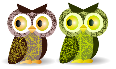 A pair of owls with an intricate pattern on the wings and body, volume, glass eyes. Blue, brown, green. With the effect of volume on bodies